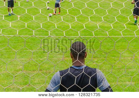 Rio De Janeiro, Brazil - Circa Jan 2016: Soccer Goal Net Pattern At Botafogo Team Stadium General Se