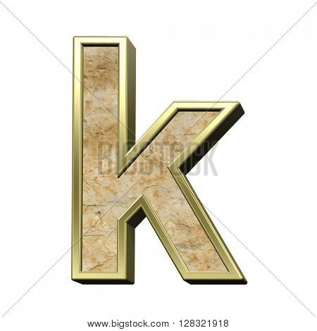 One lower case letter from sandstone with gold frame alphabet set isolated over white. 3D illustration.