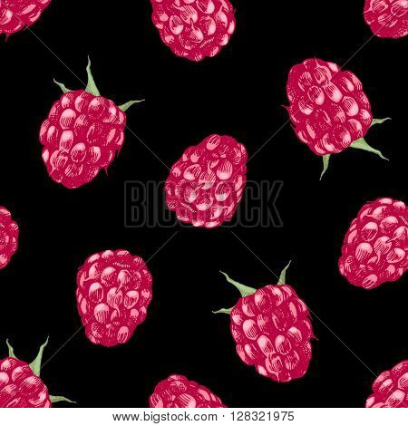 Seamless pattern with hand drawn raspberries on black background