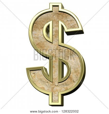 Dollar sign from sandstone with gold frame alphabet set isolated over white. 3D illustration.