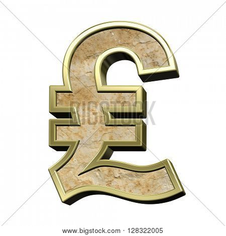 Pound sign from sandstone with gold frame alphabet set isolated over white. 3D illustration.