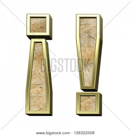 Exclamation mark from sandstone with gold frame alphabet set isolated over white. 3D illustration.