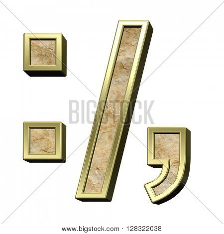 Colon, semicolon, period, comma from sandstone with gold frame alphabet set isolated over white. 3D illustration.