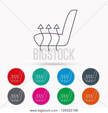 Heated seat icon. Warm autoarmchair sign. Linear icons in circles on white background.