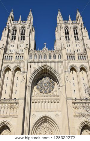 WASHINGTON, DC - APR 15: The National Cathedral in Washington, DC, as seen on April 15, 2016. It is the sixth-largest cathedral in the world and the second-largest in the United States.