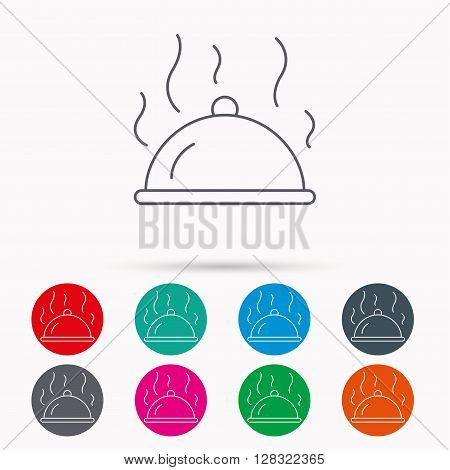 Restaurant cloche platter icon. Hot food sign. Linear icons in circles on white background.