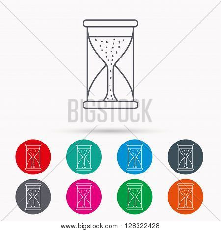 Hourglass icon. Sand time starting sign. Linear icons in circles on white background.