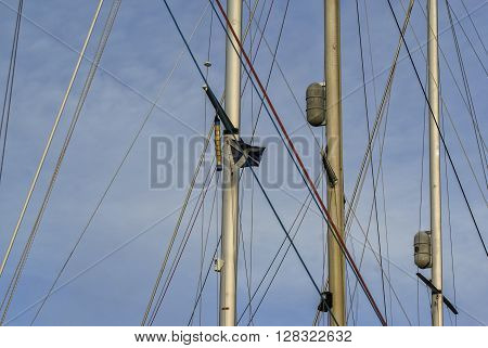 Scotland's satire flag on sailboat mast with lines