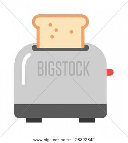 Toaster and bread vector illustration.