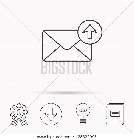 Mail outbox icon. Email message sign. Upload arrow symbol. Download arrow, lamp, learn book and award medal icons.
