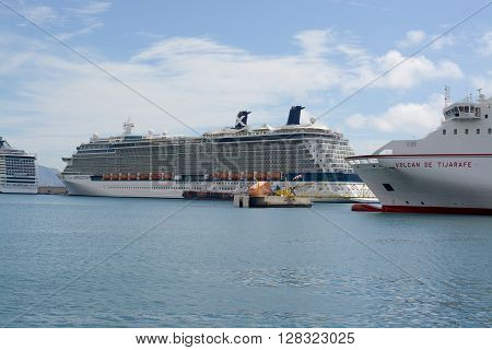 SANTA CRUZ, TENERIFE - APRIL 17, 2016: The celebrity cruise ship Reflection in port at Santa Cruz de Tenerife, Tenerife