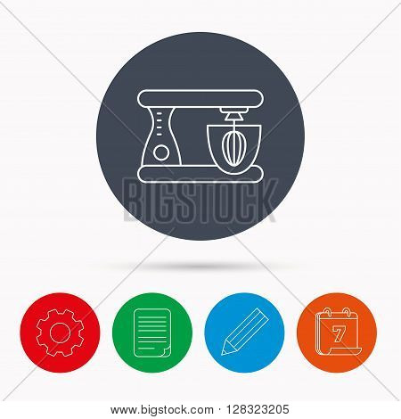 Mixer icon. Electric blender sign. Calendar, cogwheel, document file and pencil icons.