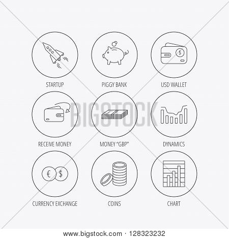 Piggy bank, cash money and startup rocket icons. Wallet, currency exchange and dollar usd linear signs. Chart, coins and dynamics icons. Linear colored in circle edge icons.
