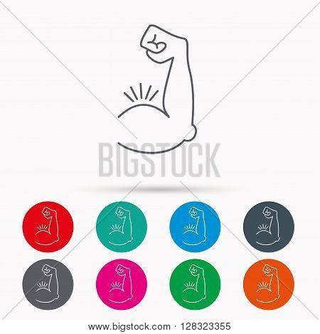 Biceps muscle icon. Bodybuilder strong arm sign. Weightlifting fitness symbol. Linear icons in circles on white background.