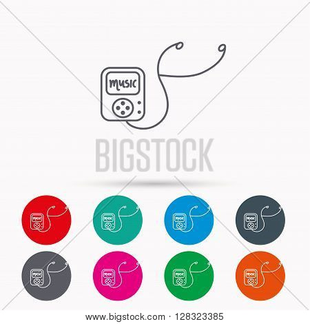 Music player icon. Songs portable device sign. Multimedia sound technology symbol. Linear icons in circles on white background.