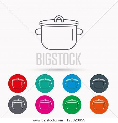 Pan icon. Cooking pot sign. Kitchen tool symbol. Linear icons in circles on white background.