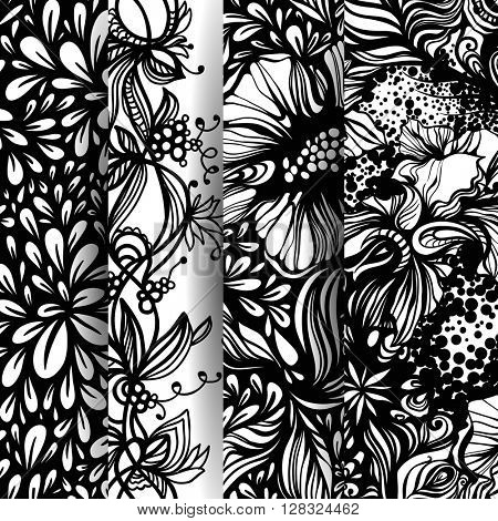 Set of fantasy abstract floral patterns. Zentangle patterns. Vector illustration.