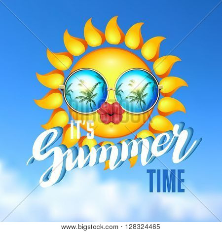 It Is Summer time illustration. Sun Face with sunglasses and full lips on blue sky background. Vector Illustration. Lady sun.