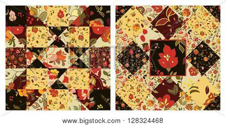 Set of Creative seamless patchwork pattern with flowers. Vintage boho style