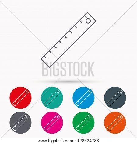 Ruler icon. Straightedge sign. Geometric symbol. Linear icons in circles on white background.