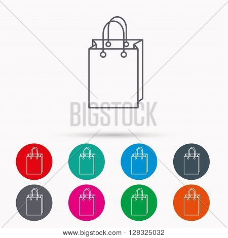 Shopping bag icon. Sale handbag sign. Linear icons in circles on white background.