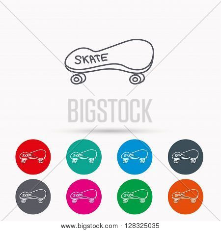 Skateboard icon. Skating sport sign. Skate with wheels symbol. Linear icons in circles on white background.