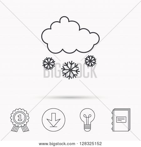 Snow icon. Snowflakes with cloud sign. Snowy overcast symbol. Download arrow, lamp, learn book and award medal icons.