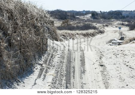 Route across sand dunes on Cape Cod requires four-wheel drive