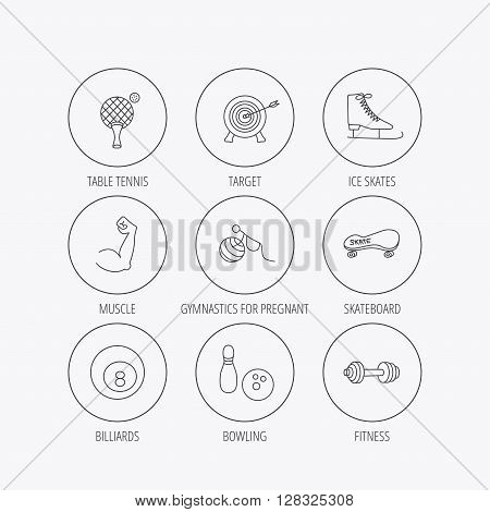Target, table tennis and fitness sport icons. Skateboard, muscle and bowling linear signs. Ice skates, billiards and gymnastics icons. Linear colored in circle edge icons.