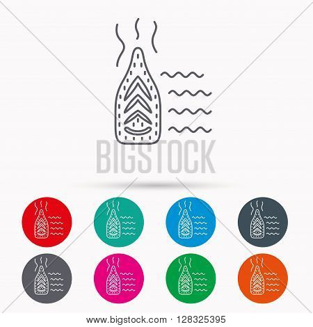 Steam ironing icon. Iron housework tool sign. Linear icons in circles on white background.