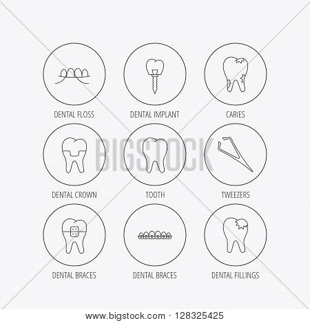 Dental implant, floss and tooth icons. Braces, fillings and tweezers linear signs. Caries icon. Linear colored in circle edge icons.
