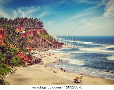 Vintage retro effect filtered hipster style image of one of India finest beaches - Varkala beach, Kerala, India