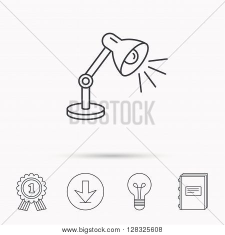 Table lamp icon. Desk light sign. Download arrow, lamp, learn book and award medal icons.