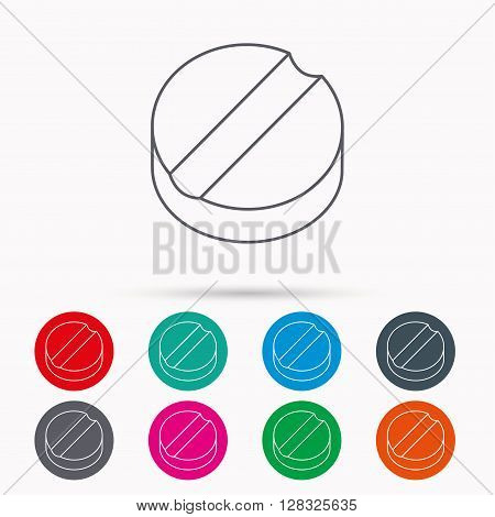 Tablet icon. Medicine drug sign. Pharmaceutical cure symbol. Linear icons in circles on white background.