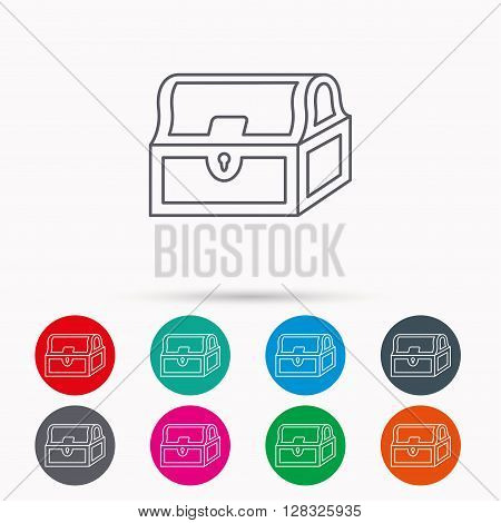 Treasure chest icon. Piratic treasury sign. Wealth symbol. Linear icons in circles on white background.