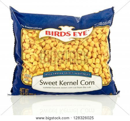 Winneconne WI - 30 April 2016: Bag of Birds Eye corn on an isolated background