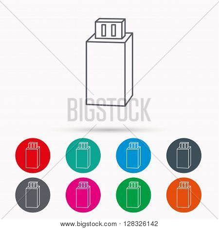 USB drive icon. Flash stick sign. Mobile data storage symbol. Linear icons in circles on white background.