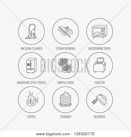 Microwave oven, coffee and blender icons. Refrigerator fridge, steamer and toaster linear signs. Vacuum cleaner, ironing and waffle-iron icons. Linear colored in circle edge icons.