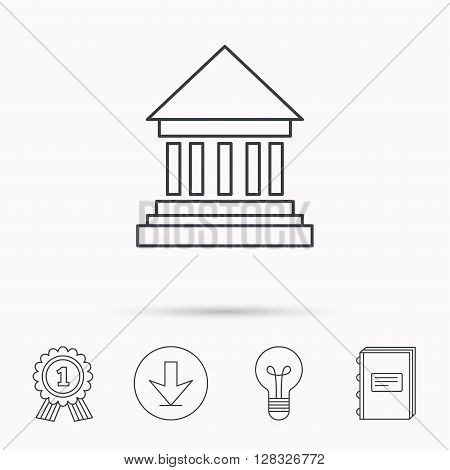 Bank icon. Court house sign. Money investment symbol. Download arrow, lamp, learn book and award medal icons.