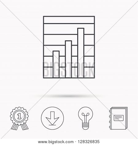 Chart icon. Graph diagram sign. Demand growth symbol. Download arrow, lamp, learn book and award medal icons.