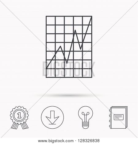 Chart curve icon. Graph diagram sign. Demand growth symbol. Download arrow, lamp, learn book and award medal icons.
