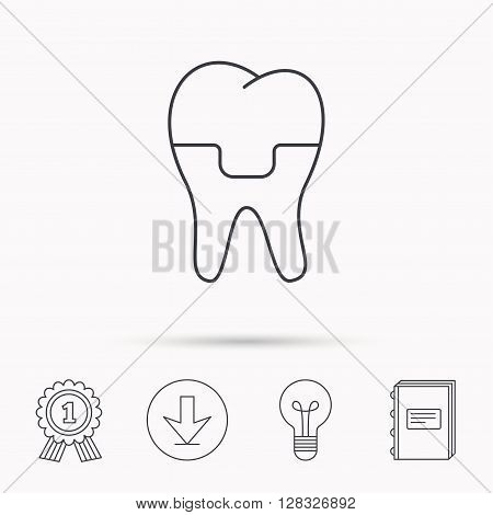 Dental crown icon. Tooth prosthesis sign. Download arrow, lamp, learn book and award medal icons.