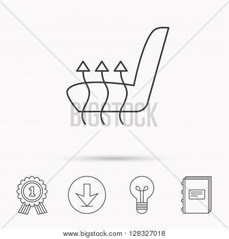 Heated seat icon. Warm autoarmchair sign. Download arrow, lamp, learn book and award medal icons.