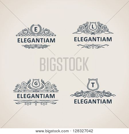 Calligraphic flourishes luxury monogram set. Line frame template logo for emblem. Patterns for design calligraphic menu, restaurant cafe, invitations, cards. Vintage vector line symbols E, L, G, T