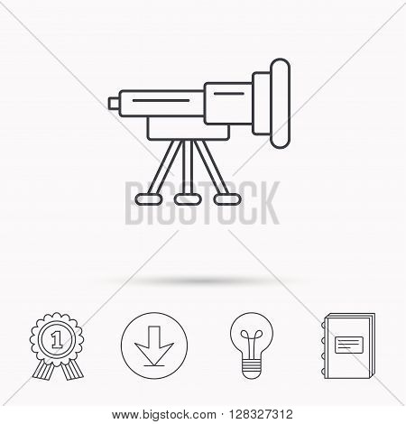 Telescope icon. Spyglass sign. Astronomy magnify lens symbol. Download arrow, lamp, learn book and award medal icons.