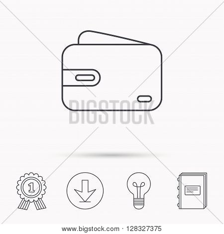 Wallet icon. Cash money bag sign. Download arrow, lamp, learn book and award medal icons.