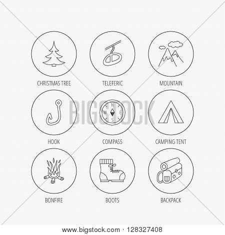 Mountain, fishing hook and hiking boots icons. Compass, backpack and bonfire linear signs. Camping tent, teleferic and christmas tree icons. Linear colored in circle edge icons.