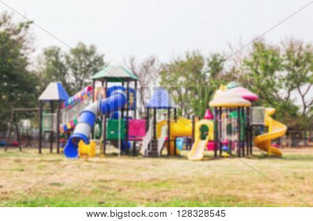 Blurred Background Public Playground With Colourful Plaything  For Children