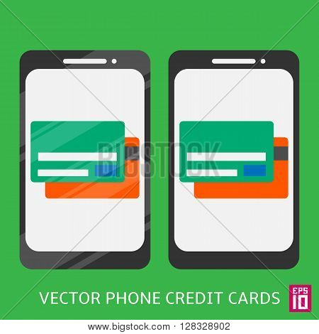 Vector phone with credit cards graphic design illustration.