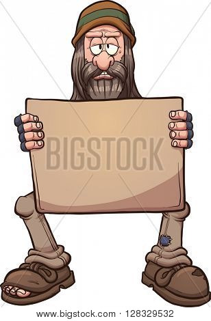 Homeless man holding a sign. Vector clip art cartoon illustration with simple gradients. All in a single layer.
